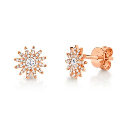 0.24ct 14k Rose Gold Diamond Stud Earring