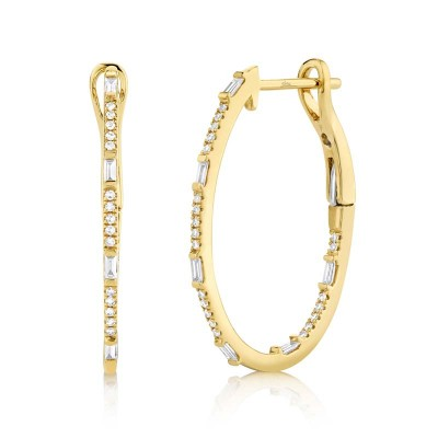 0.31ct 14k Yellow Gold Diamond Oval Hoop Earring