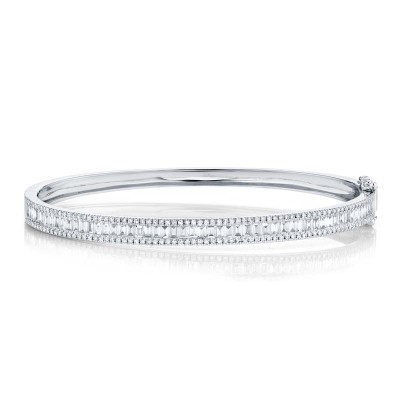 1.74ct 14k White Gold Diamond Baguette Bangle