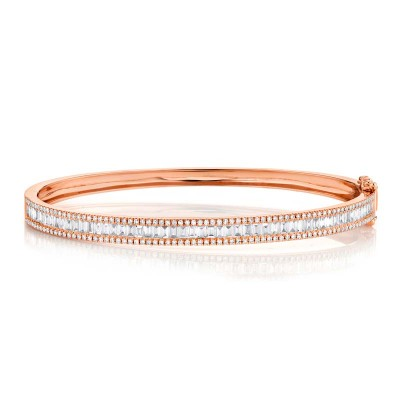 1.74ct 14k Rose Gold Diamond Baguette Bangle