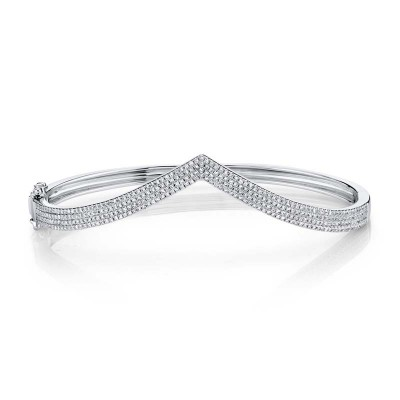 0.92ct 14k White Gold Diamond Pave Bangle