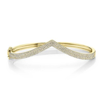 0.92ct 14k Yellow Gold Diamond Pave Bangle