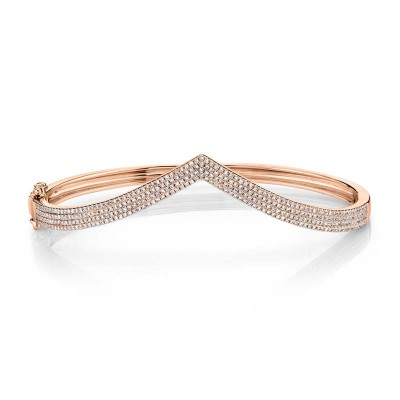 0.92ct 14k Rose Gold Diamond Pave Bangle