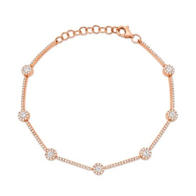 0.88ct 14k Rose Gold Diamond Bracelet