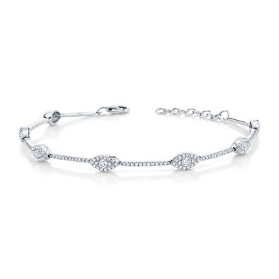 0.88ct 14k White Gold Diamond Eye Bracelet