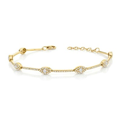 0.88ct 14k Yellow Gold Diamond Eye Bracelet