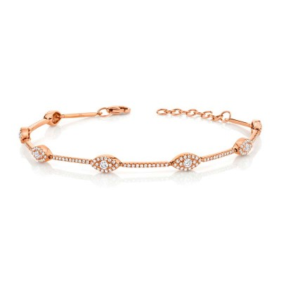 0.88ct 14k Rose Gold Diamond Eye Bracelet
