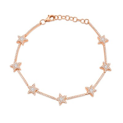 0.84ct 14k Rose Gold Diamond Star Bracelet