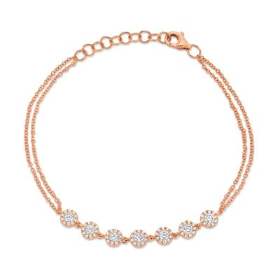 0.66ct 14k Rose Gold Diamond Bracelet