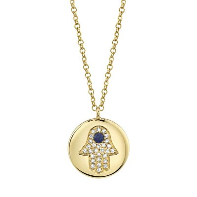 0.08ct Diamond & 0.04ct Blue Sapphire 14k Yellow Gold Diamond Hamsa Necklace