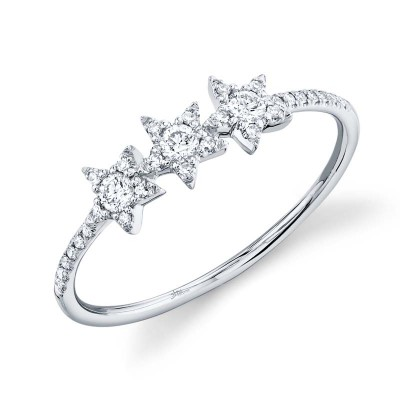 0.20ct 14k White Gold Diamond Star Ring