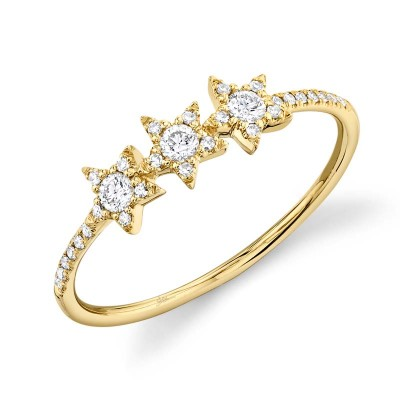 0.20ct 14k Yellow Gold Diamond Star Ring