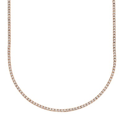 3.96ct 14k Rose Gold Diamond Tennis Necklace