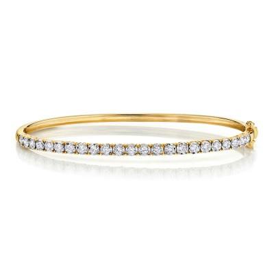 0.69ct 14k Yellow Gold Diamond Bangle