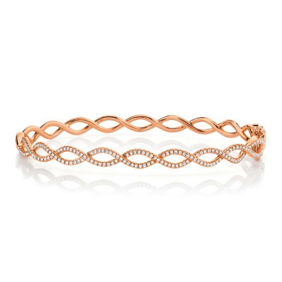 0.46ct 14k Rose Gold Diamond Bangle