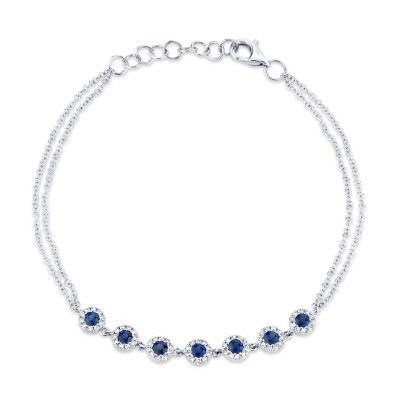 0.21ct Diamond & 0.53ct Blue Sapphire 14k White Gold Diamond Bracelet