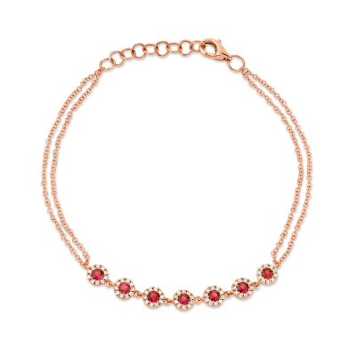 0.21ct Diamond & 0.52ct Ruby 14k Rose Gold Bracelet