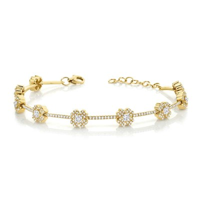1.29ct 14k Yellow Gold Diamond Clover Bracelet