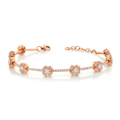 1.29ct 14k Rose Gold Diamond Clover Bracelet