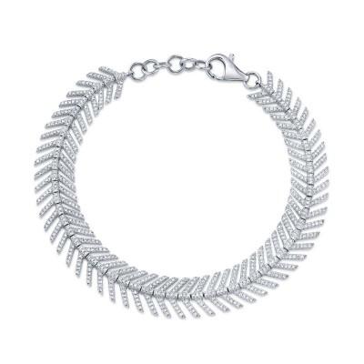 1.45ct 14k White Gold Diamond Feather Bracelet
