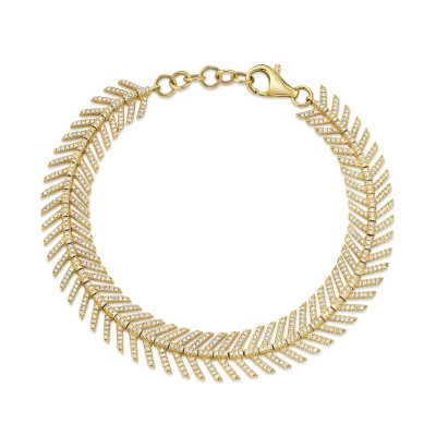 1.45ct 14k Yellow Gold Diamond Feather Bracelet