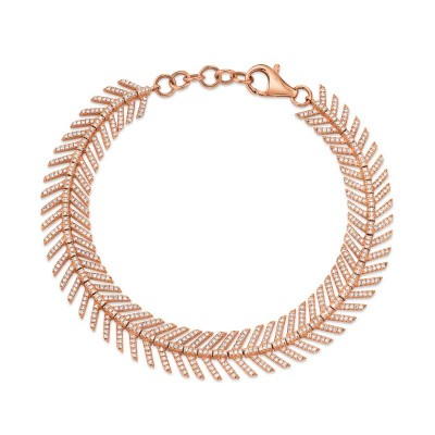 1.45ct 14k Rose Gold Diamond Feather Bracelet