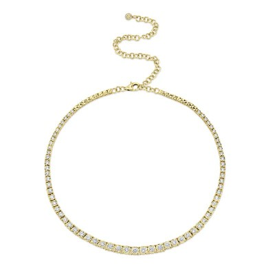 4.39ct 14k Yellow Gold Diamond Tennis Necklace