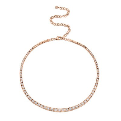4.39ct 14k Rose Gold Diamond Tennis Necklace