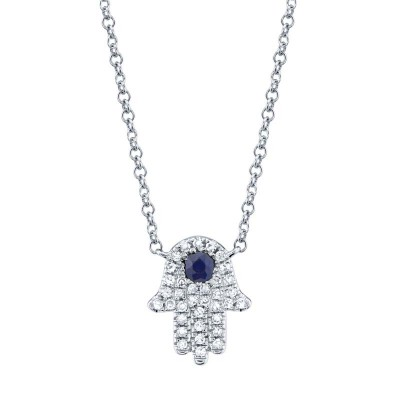 0.09ct Diamond & 0.08ct Blue Sapphire 14k White Gold Diamond Hamsa Necklace