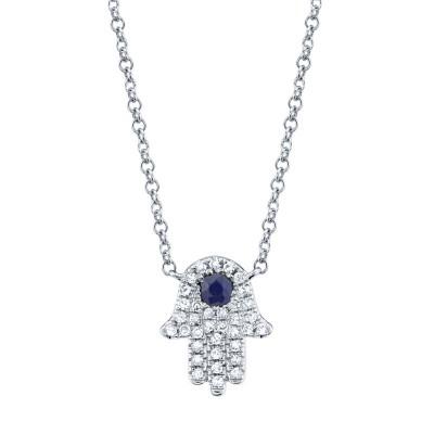 0.09ct Diamond & 0.08ct Blue Sapphire 14k White Gold Diamond Hamsa Necklace