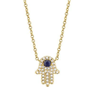 0.09ct Diamond & 0.08ct Blue Sapphire 14k Yellow Gold Diamond Hamsa Necklace
