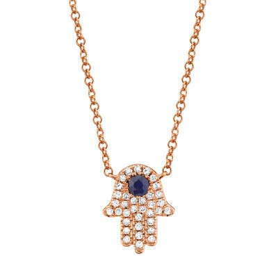 0.09ct Diamond & 0.08ct Blue Sapphire 14k Rose Gold Diamond Hamsa Necklace