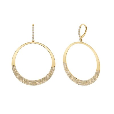 1.37ct 14k Yellow Gold Diamond Pave Circle Earring