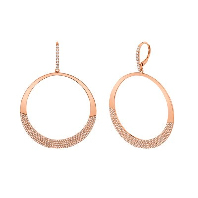 1.37ct 14k Rose Gold Diamond Pave Circle Earring