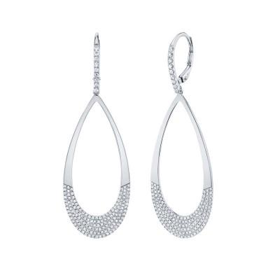 0.88ct 14k White Gold Diamond Pave Earring