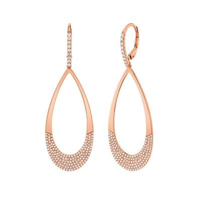0.88ct 14k Rose Gold Diamond Pave Earring