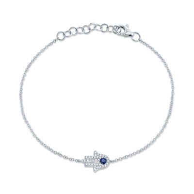 0.09ct Diamond & 0.08ct Blue Sapphire 14k White Gold Diamond Hamsa Bracelet