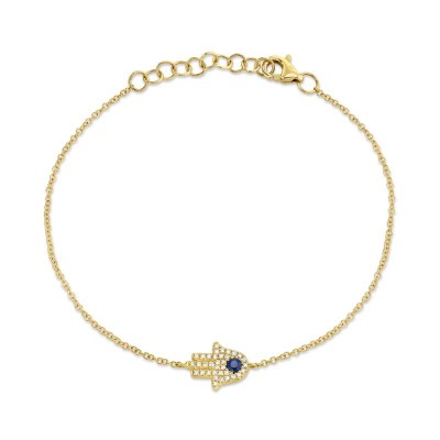 0.09ct Diamond & 0.08ct Blue Sapphire 14k Yellow Gold Diamond Hamsa Bracelet