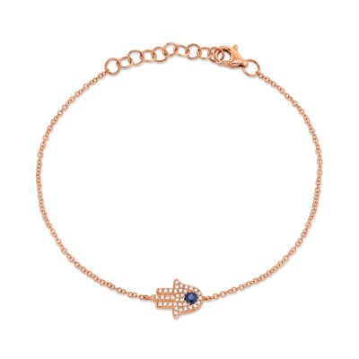 0.09ct Diamond & 0.08ct Blue Sapphire 14k Rose Gold Diamond Hamsa Bracelet