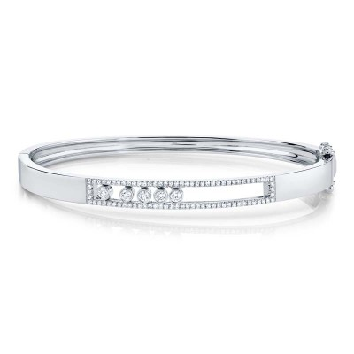 0.42ct 14k White Gold Diamond Slider Bangle