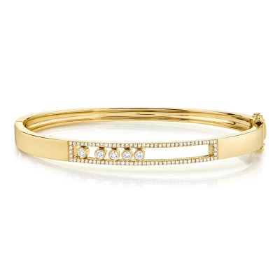 0.42ct 14k Yellow Gold Diamond Slider Bangle