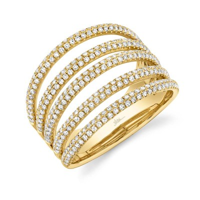 0.83ct 14k Yellow Gold Diamond Pave Lady's Ring
