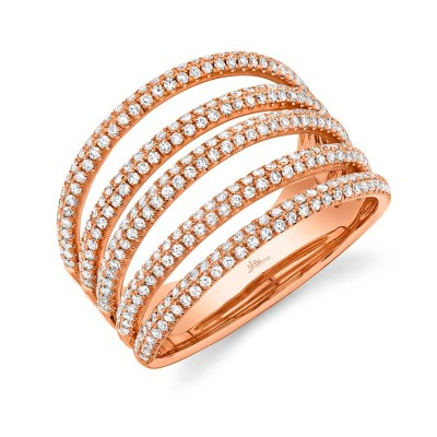 0.83ct 14k Rose Gold Diamond Pave Lady's Ring