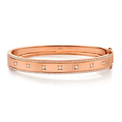 0.55ct 14k Rose Gold Diamond Bangle