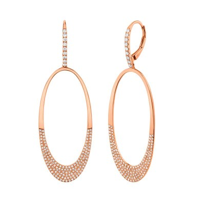 0.94ct 14k Rose Gold Diamond Pave Oval Earring