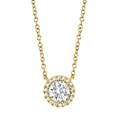 0.40ct Round Brilliant Center and 0.06ct Side 14k Yellow Gold Diamond Necklace