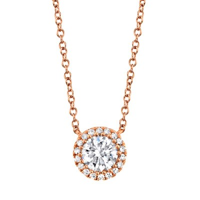 0.40ct Round Brilliant Center and 0.06ct Side 14k Rose Gold Diamond Necklace