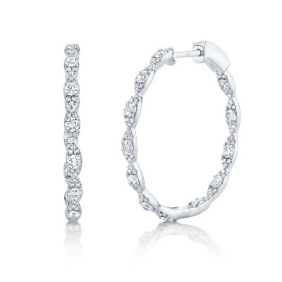 1.73ct 14k White Gold Diamond Hoop Earring
