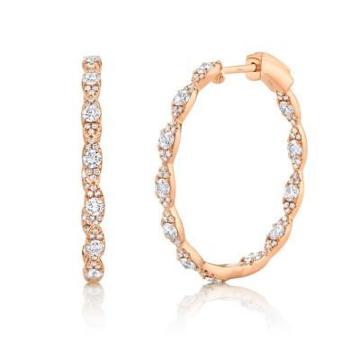 1.73ct 14k Rose Gold Diamond Hoop Earring