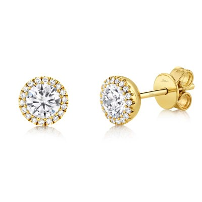 0.80ct Round Brilliant Center and 0.10ct Side 14k Yellow Gold Diamond Stud Earring